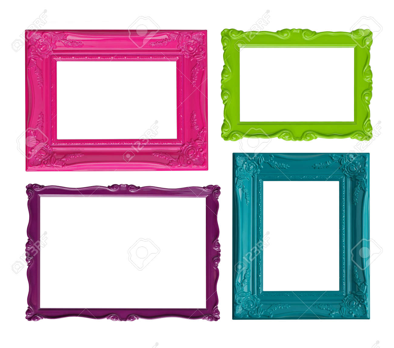 four contemporary picture frames in high resolution vibrant colors  - four contemporary picture frames in high resolution vibrant colors stockphoto