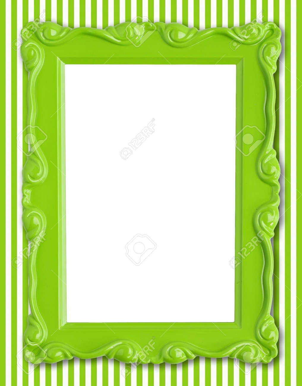 Pretty Green Picture Frame On A Striped Wallpaper Background Stock