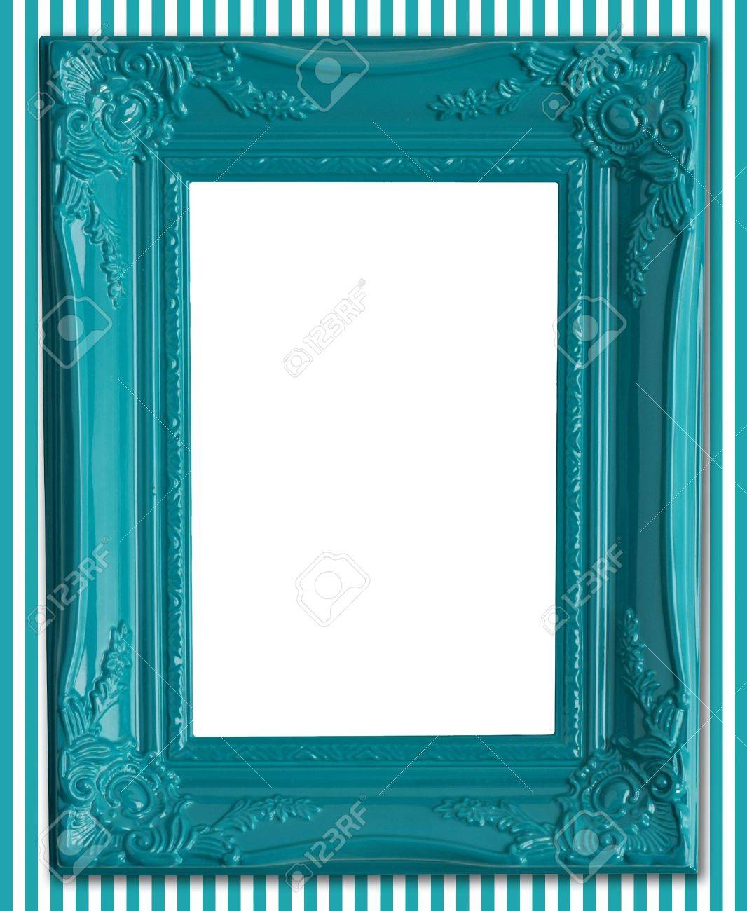 contemporary blue picture frame on a striped wallpaper background  - contemporary blue picture frame on a striped wallpaper background stockphoto