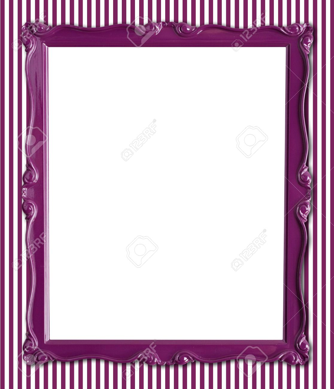 Pretty Purple Picture Frame On A Striped Wallpaper Background. Stock ...