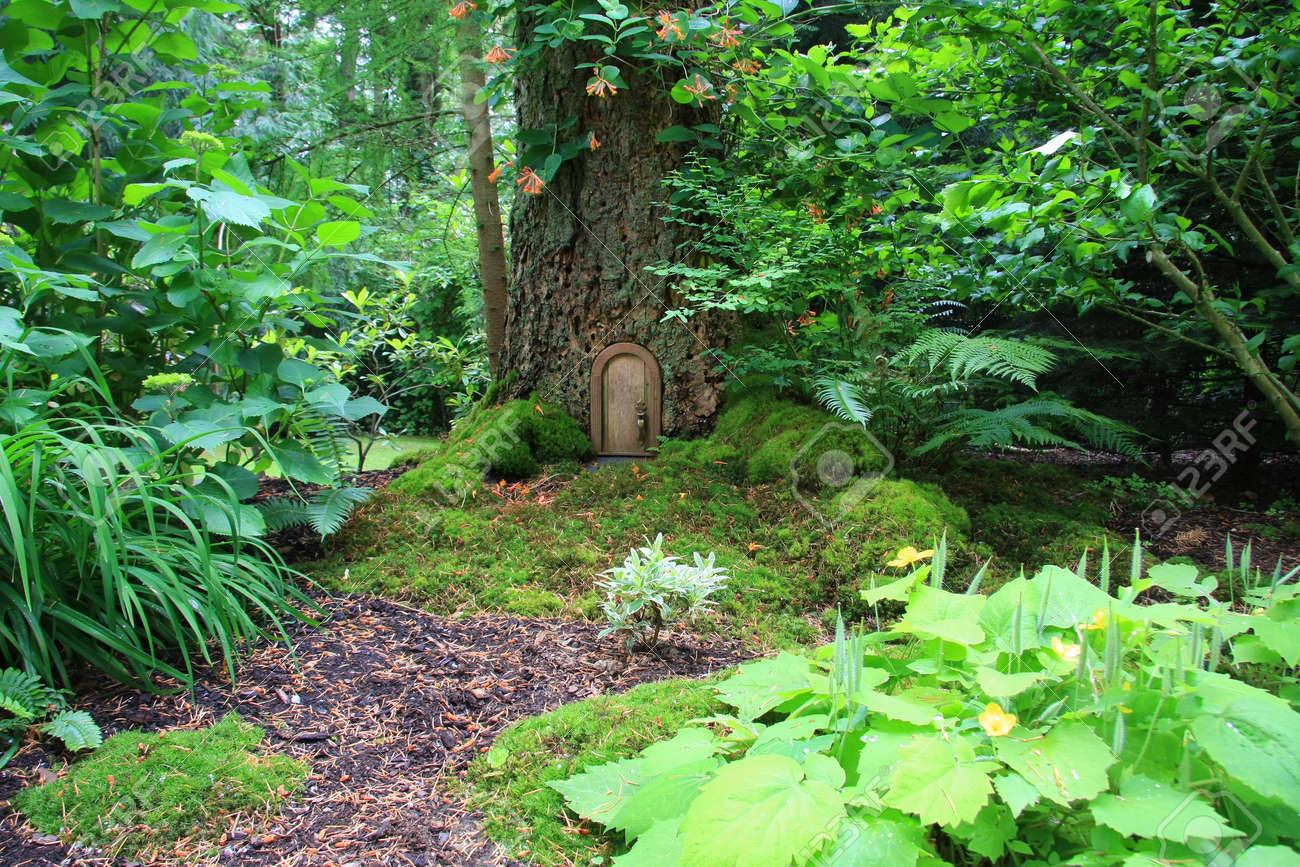 Little fairy tale door in a tree trunk. Stock Photo - 6143852