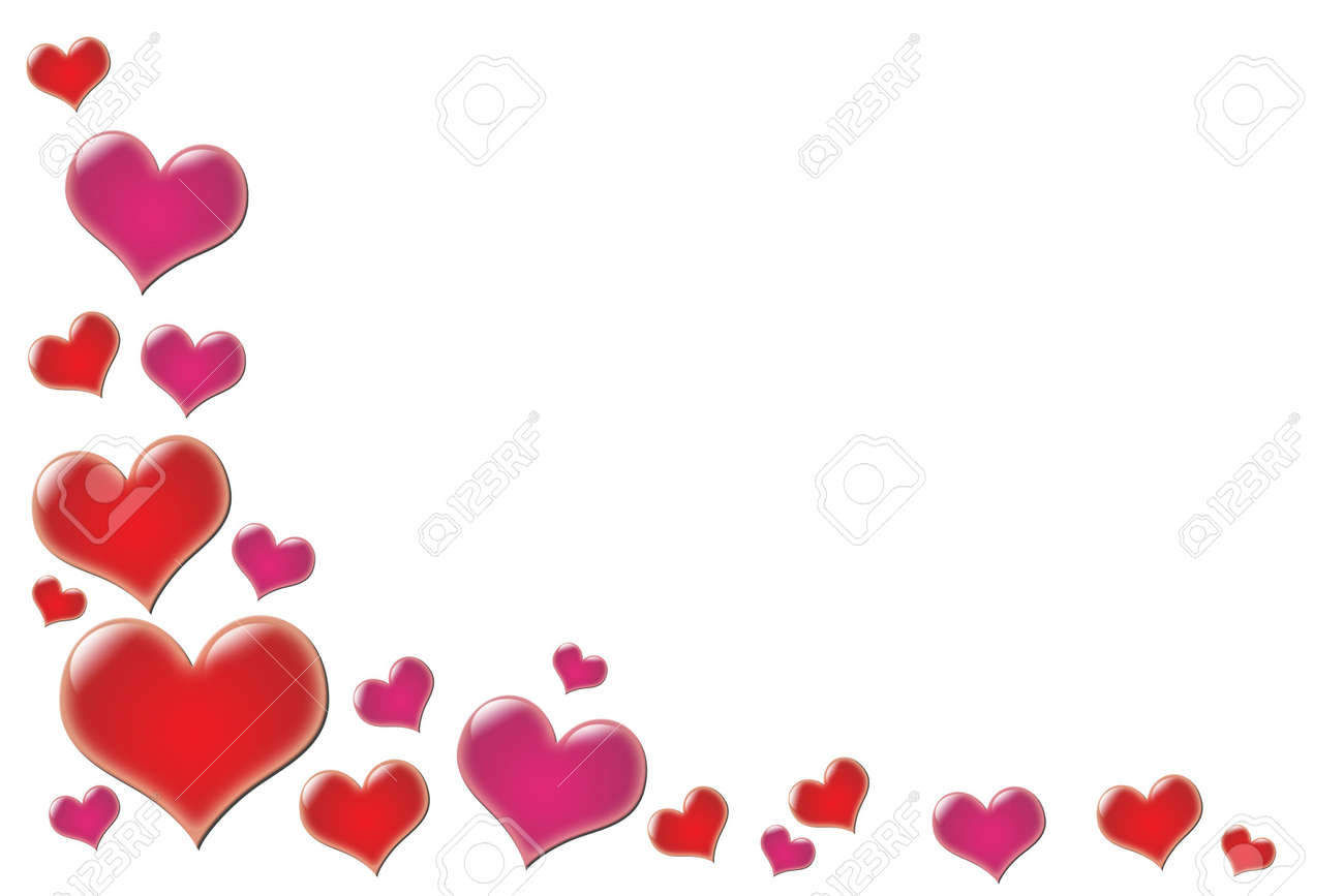 Border Of Glowing Valentine Hearts. Stock Photo, Picture And ...