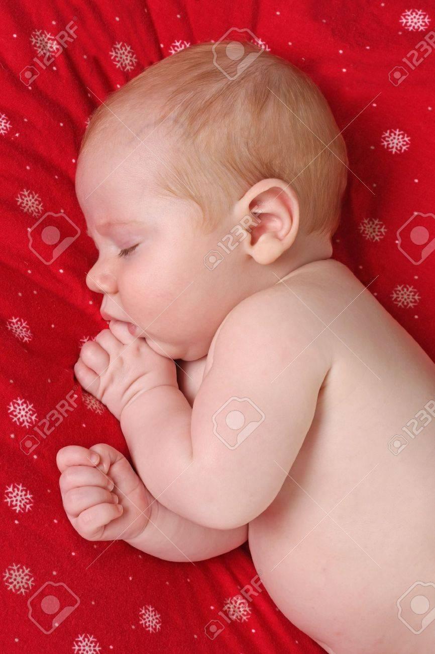 Sleeping Christmas baby Stock Photo - 8483790