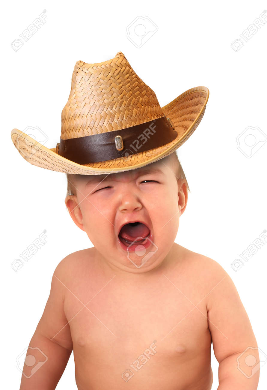 Crying baby wearing a cowboy hat. Stock Photo - 8611358 6c3ea4a2bdf