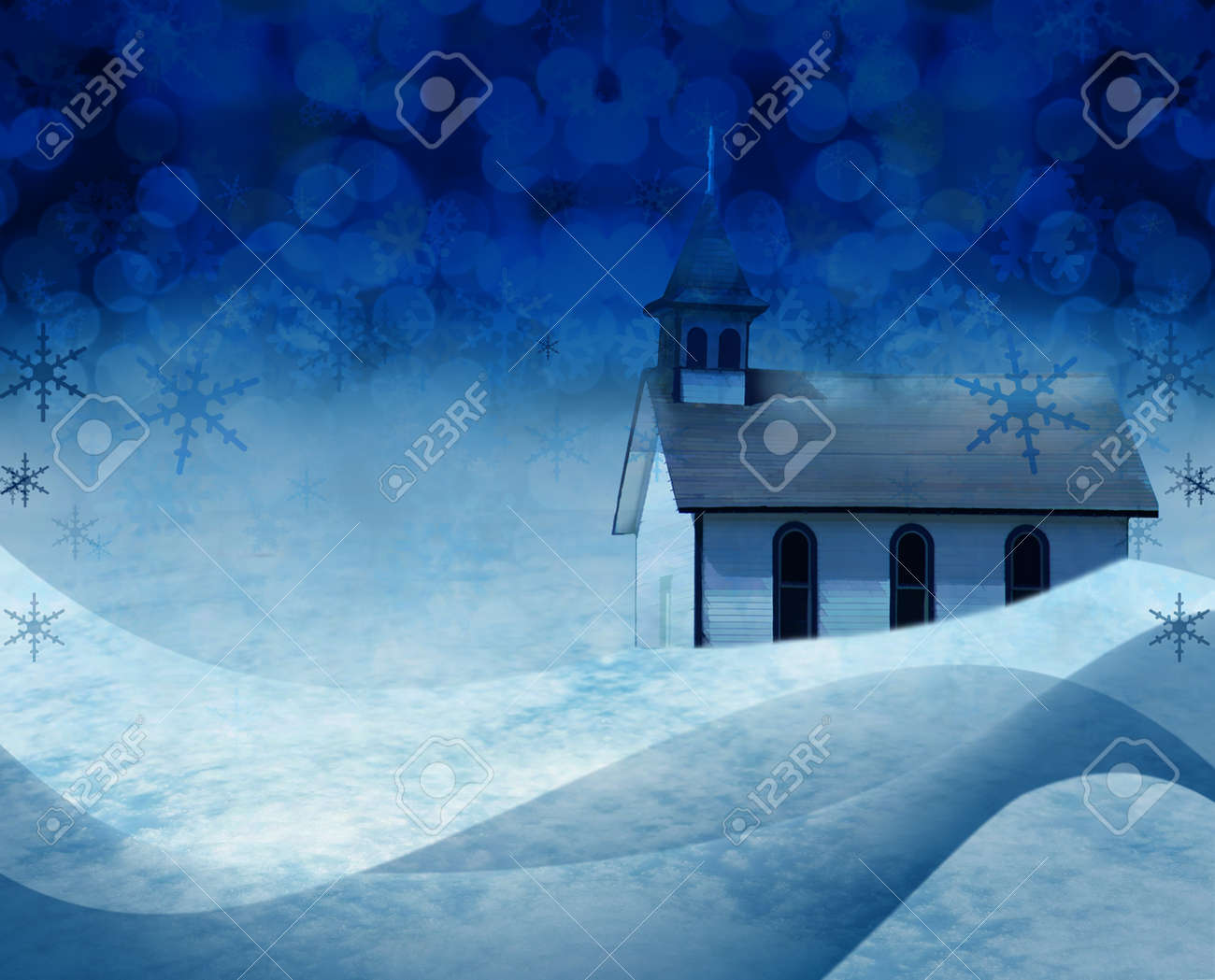 Festive Christmas Church Snow Scene Stock Photo, Picture And ...