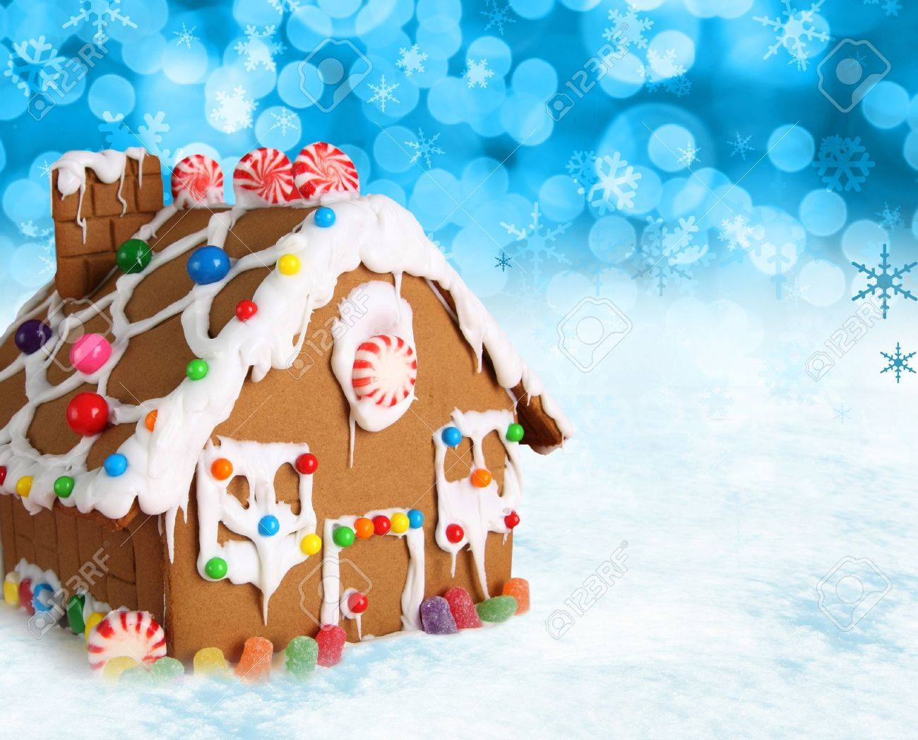 Christmas Gingerbread House Background.Gingerbread House On A Festive Christmas Snow Background