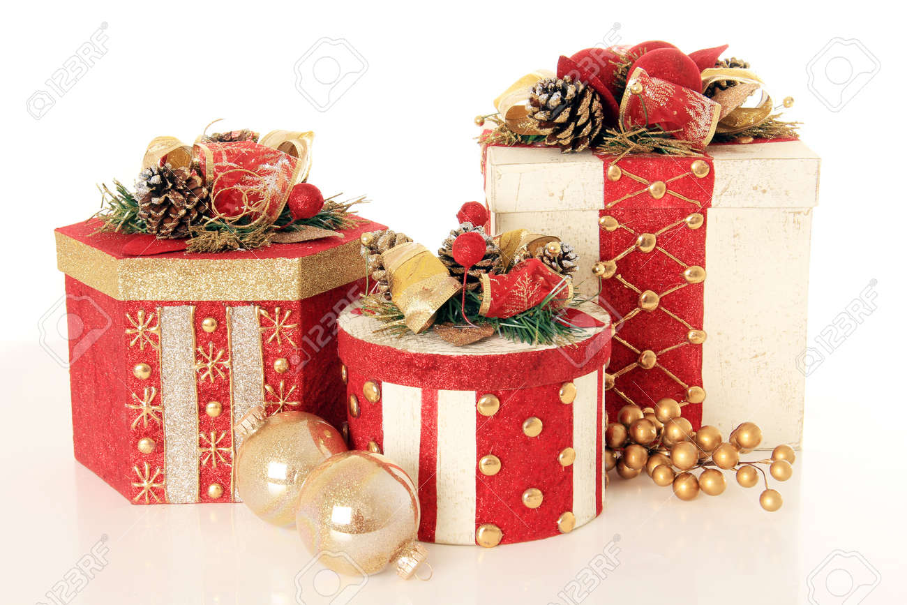 Beautifully Wrapped Christmas Gifts, Isolated On White. Stock Photo ...
