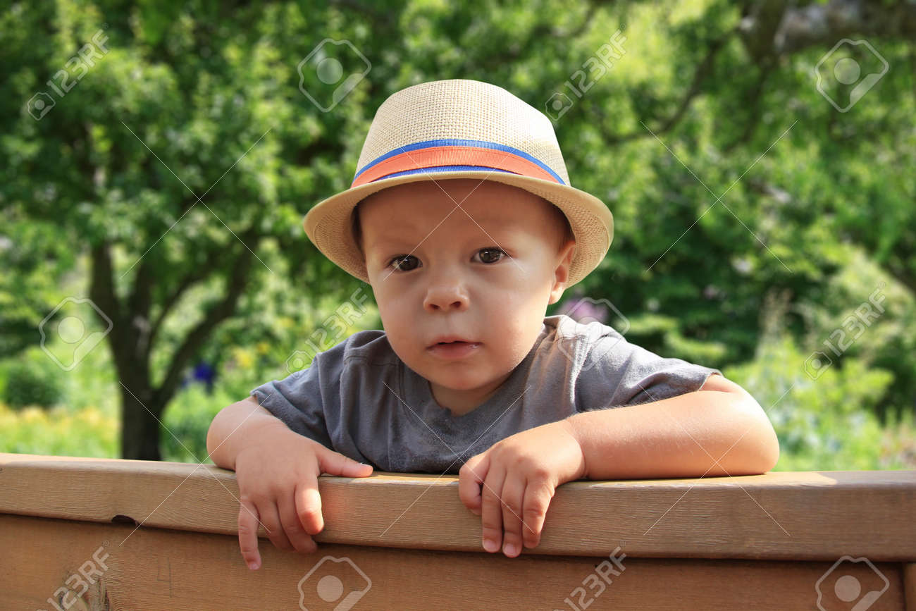 Cute little boy, peeking over a fence Stock Photo - 14778856