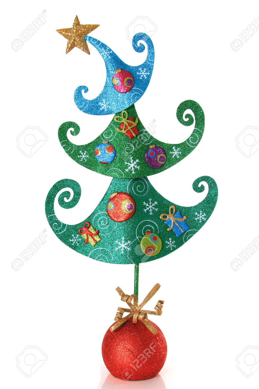 Contemporary Christmas tree isolated on white Stock Photo - 16295534
