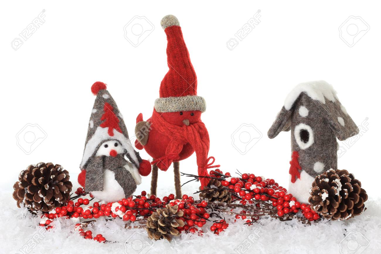 Christmas winter bird ornaments in snow Stock Photo - 16295541