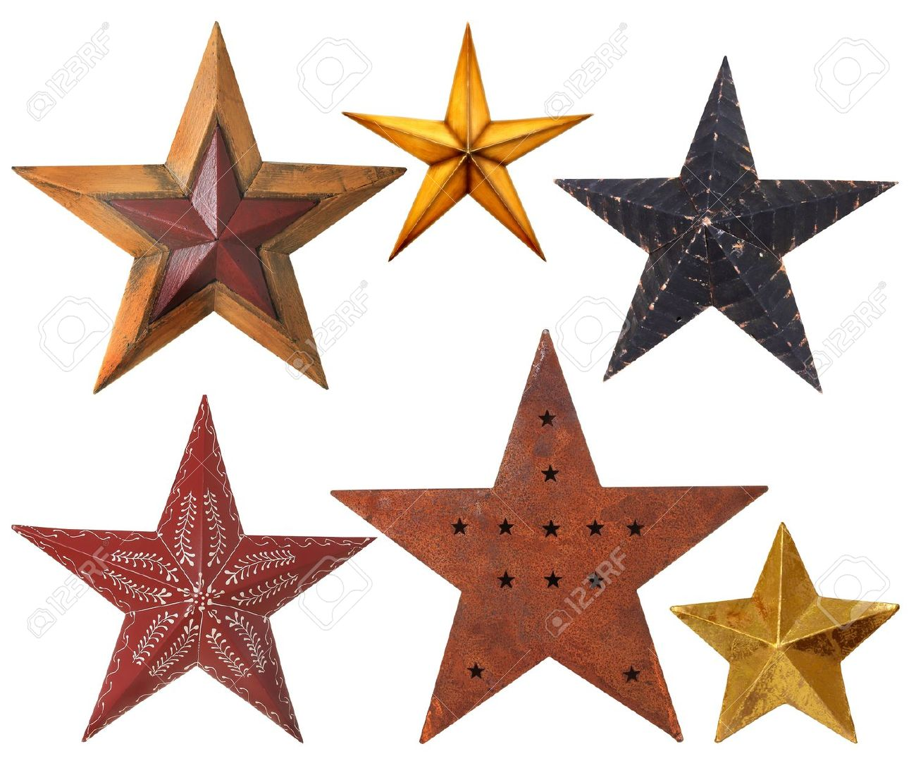 Collection Of Christmas Star Ornaments, Studio Isolated On White ...