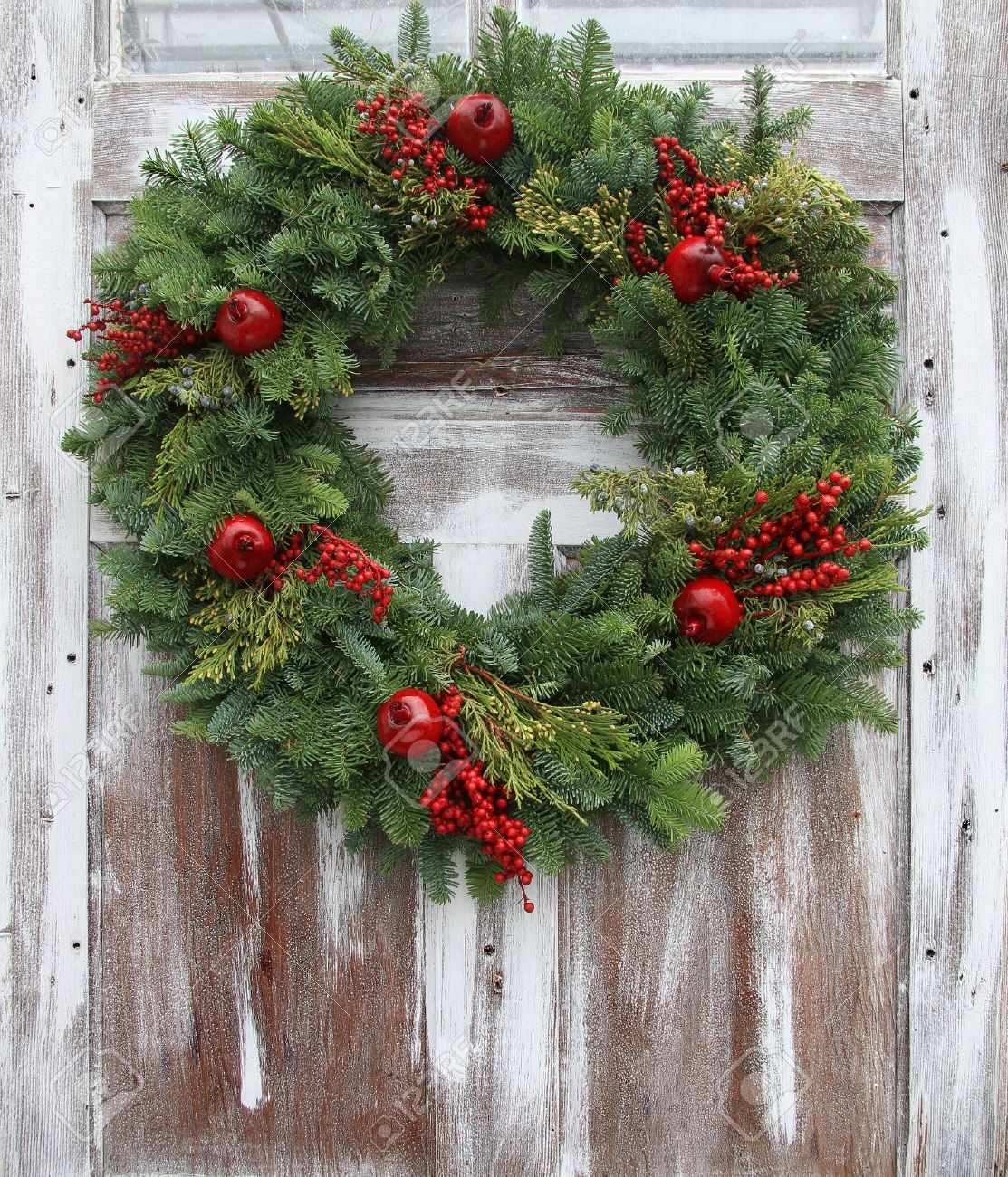 Christmas Wreath On A Rustic Wooden Front Door Stock Photo Picture