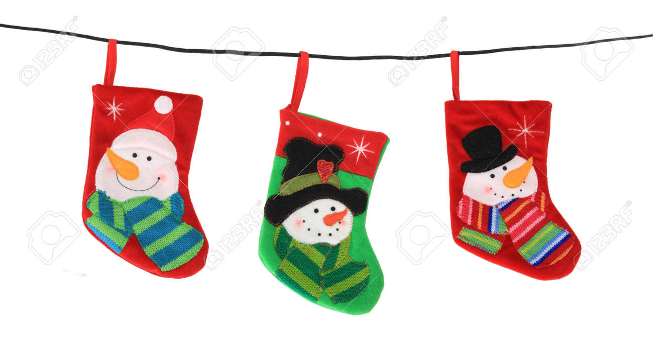 Christmas stockings hanging, studio isolated on white Stock Photo - 16738780