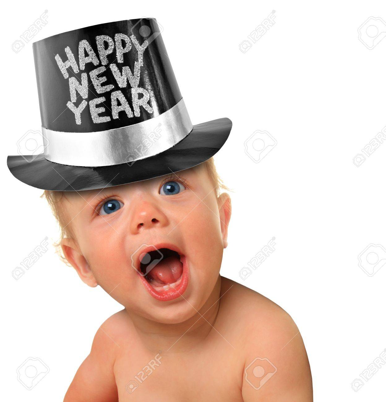 Shouting Happy New Year baby boy Stock Photo - 16796462