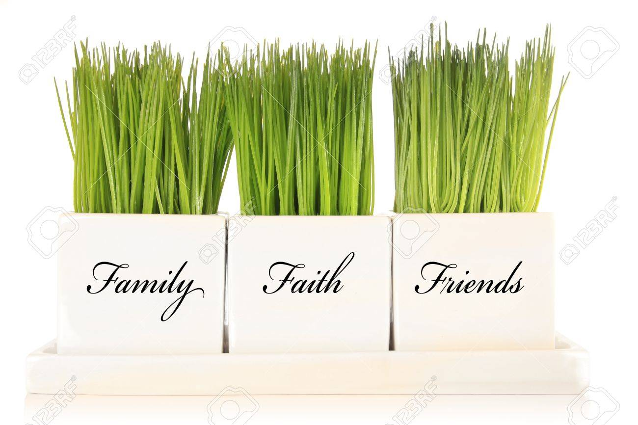 Family, faith, friends planters filled with green grass Stock Photo - 17309960