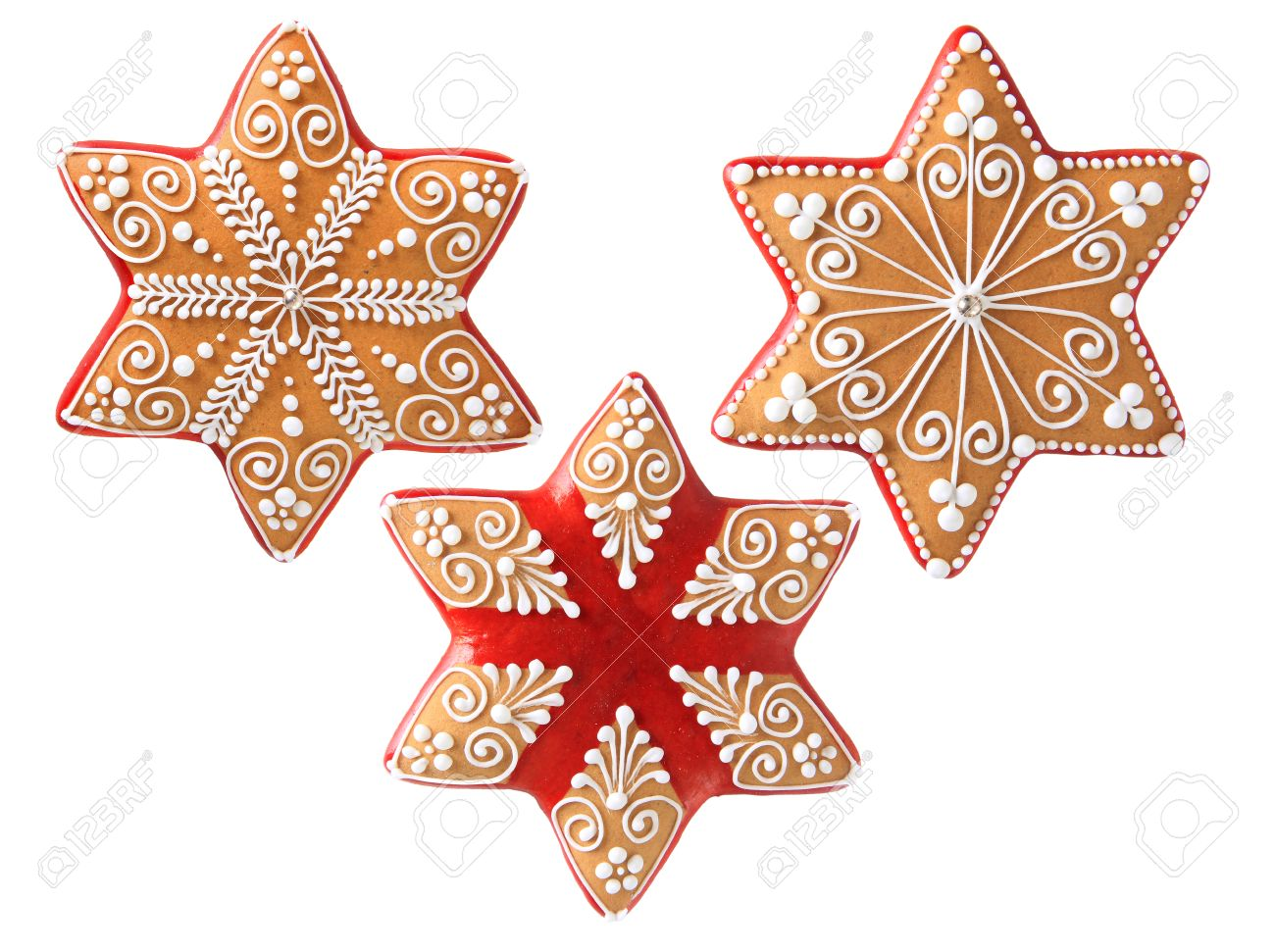Three Beautifully Decorated Christmas Cookies Stock Photo, Picture ...