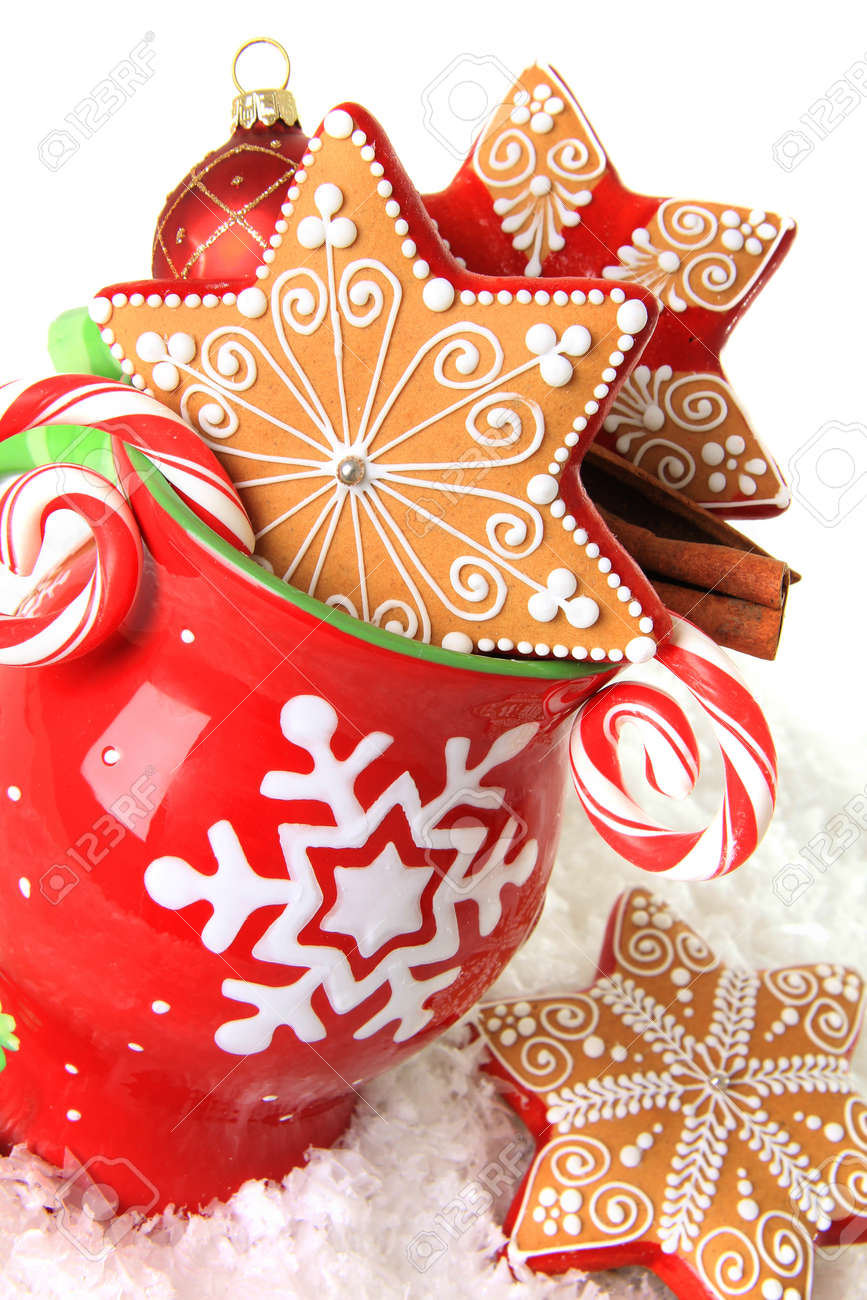 Christmas Mug Filled With Gingerbread Cookies And Candy Stock Photo Picture And Royalty Free Image Image 24247031