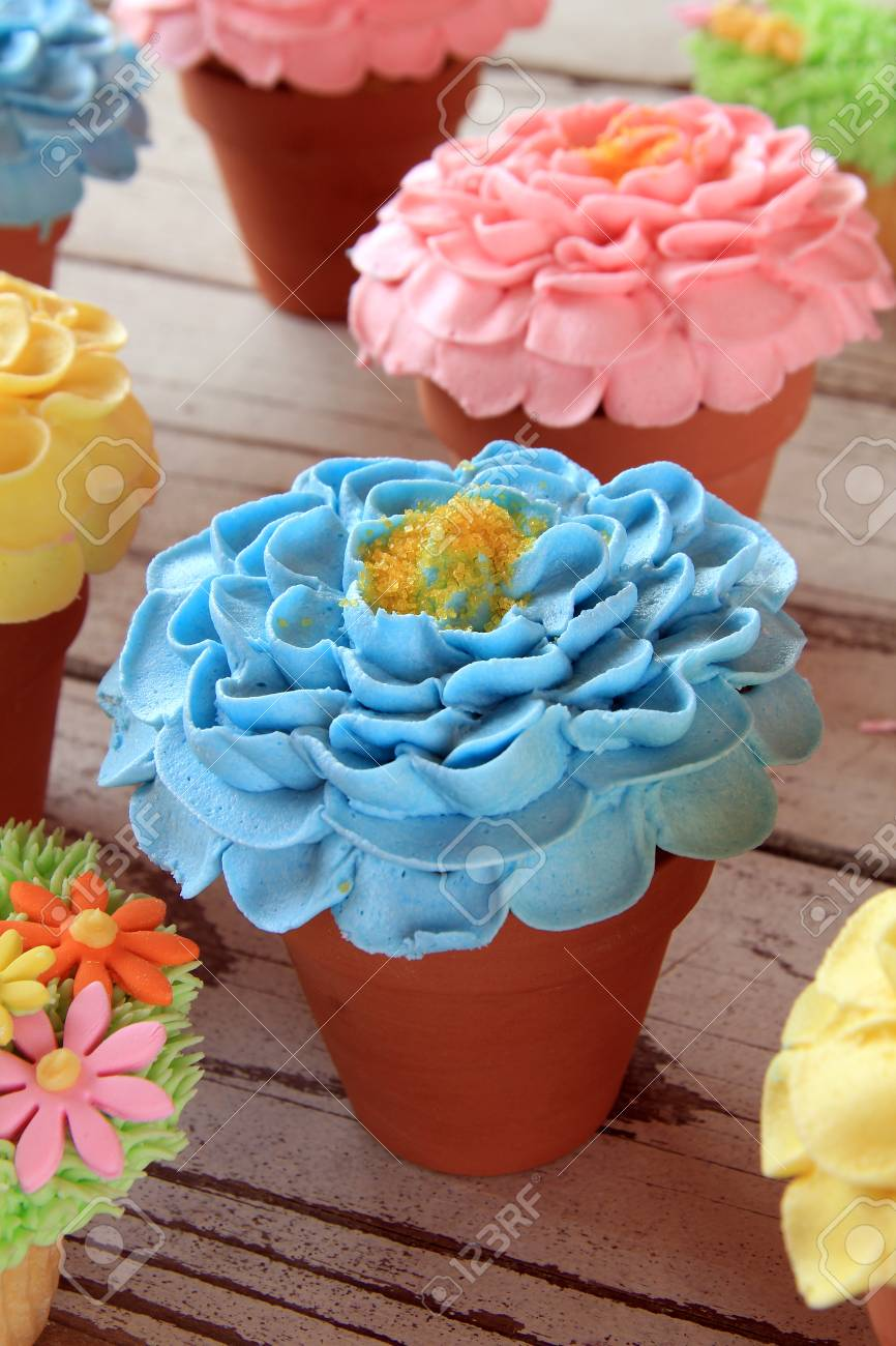 Spring Floral Cupcakes Baked In Small Flower Pots Stock Photo Picture And Royalty Free Image Image 37570971