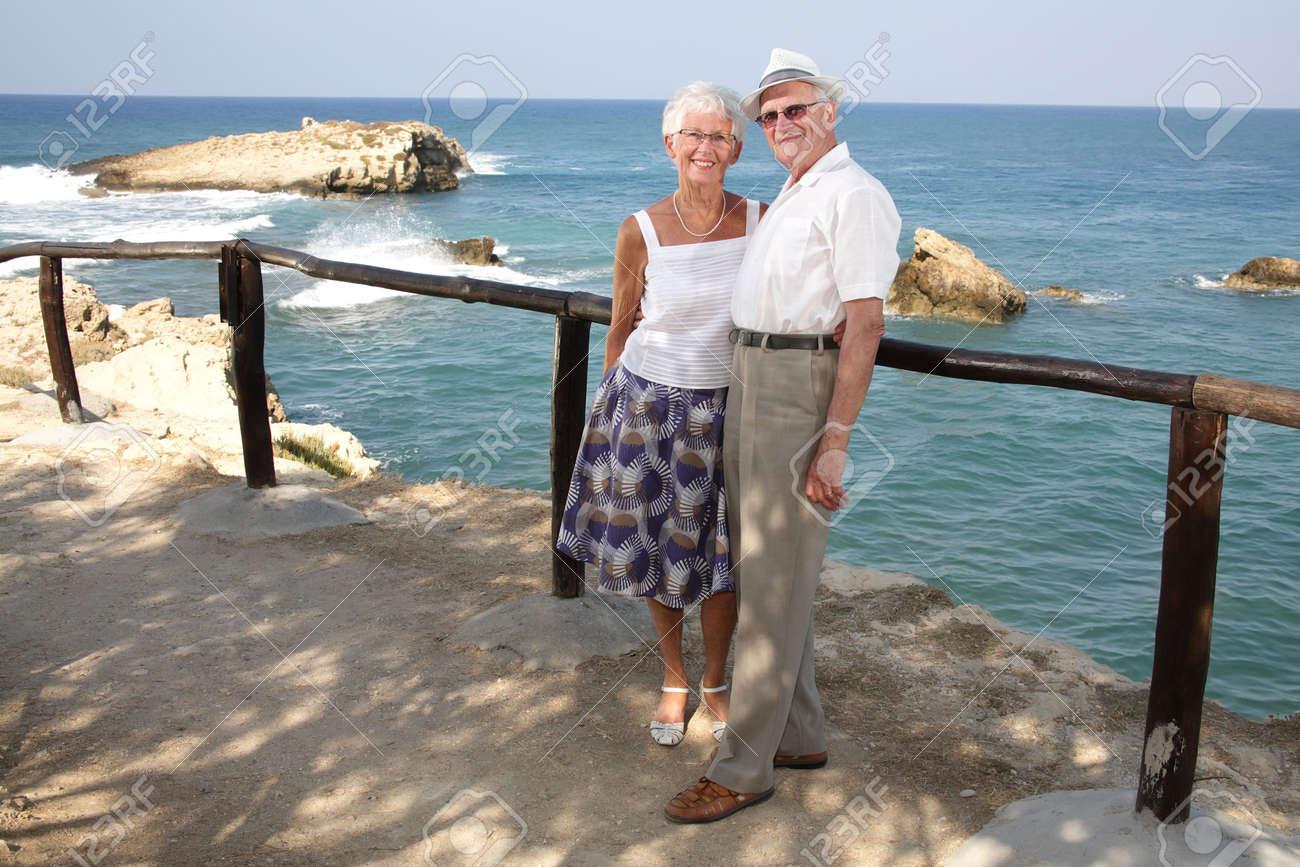 happy elderly couple outdoors Stock Photo - 3537125