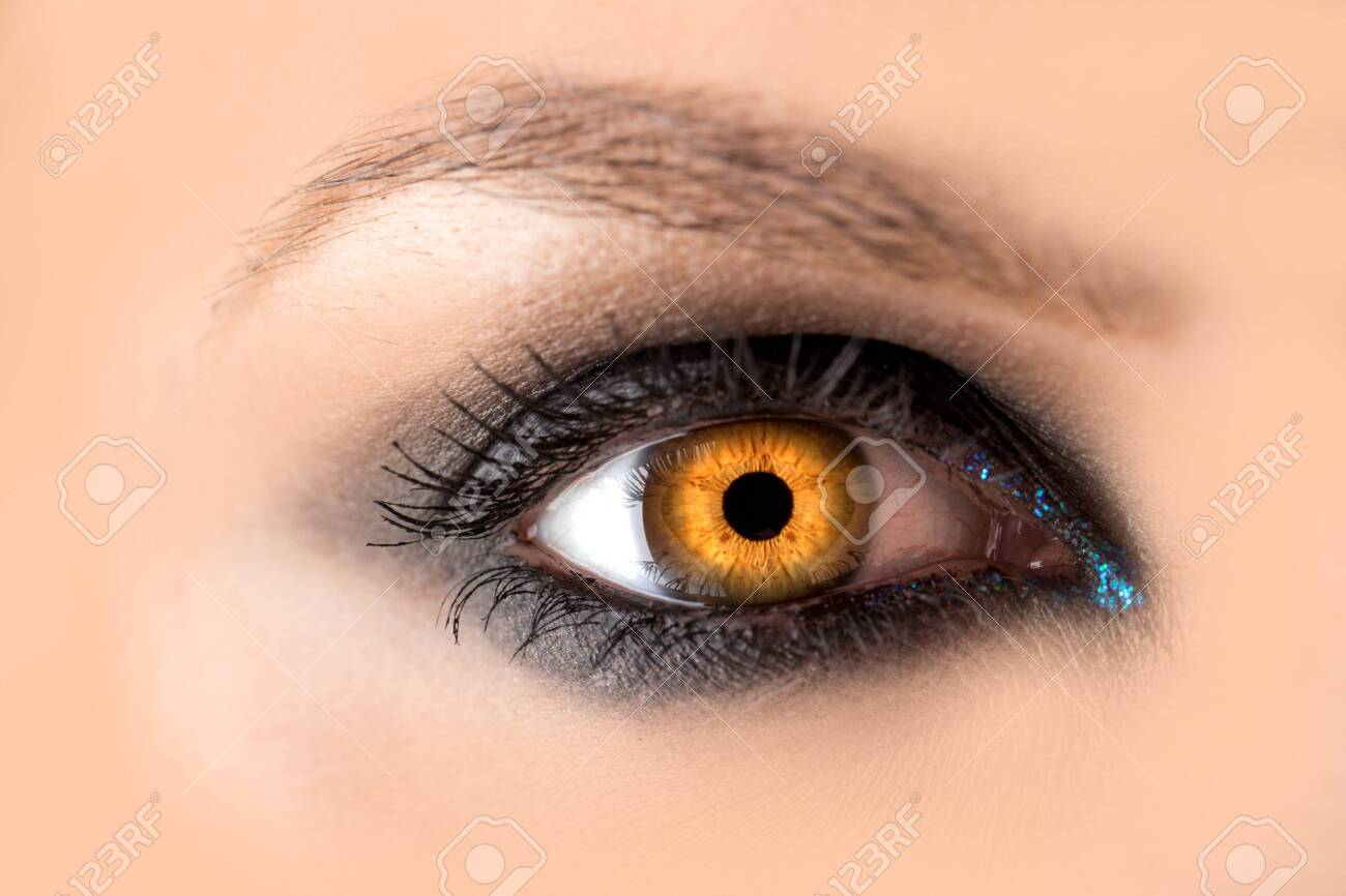 Mystic amber eye, witch witchcraft concept, fairy-tale look, fairy or young woman with beautiful make-up and yellow colored lenses for eyes. Cosmetics for make-up eyes. Open eye, Halloween. - 131765888