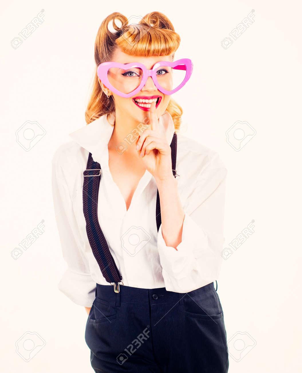 Happy young woman with heart glasses. Valentines Day. - 163244692