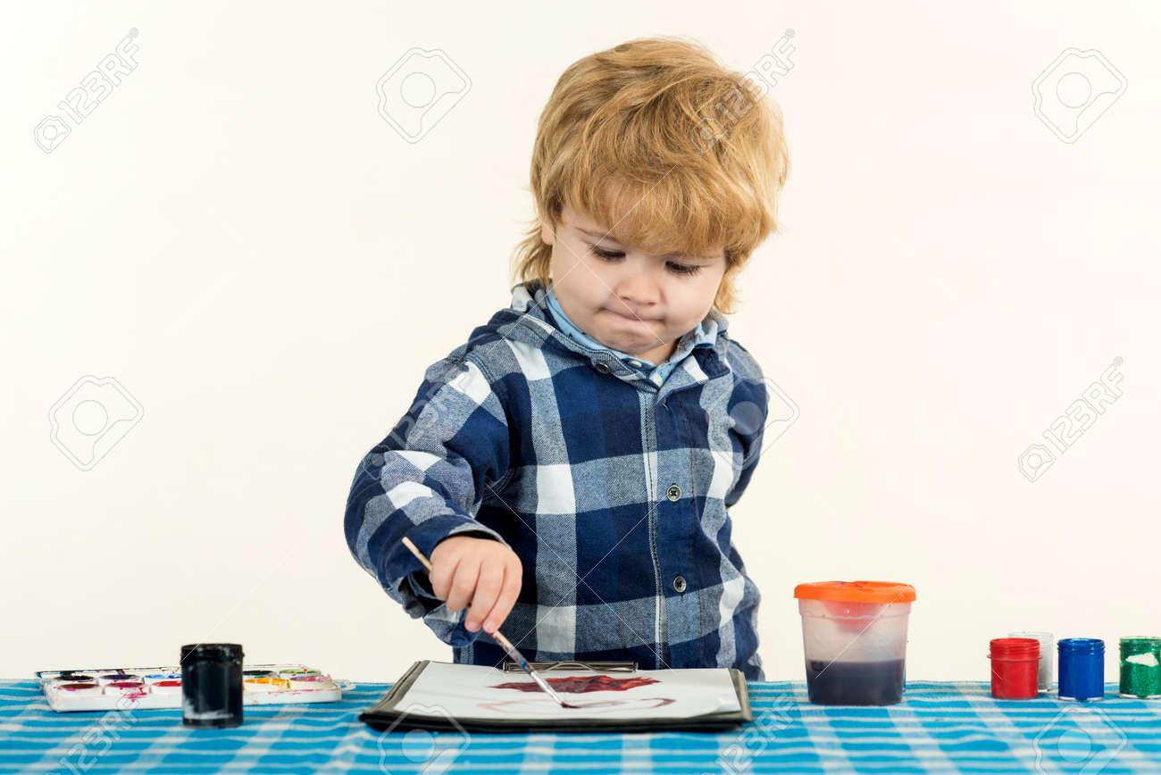 Children education. Art school at home. Smart kid. - 163411721