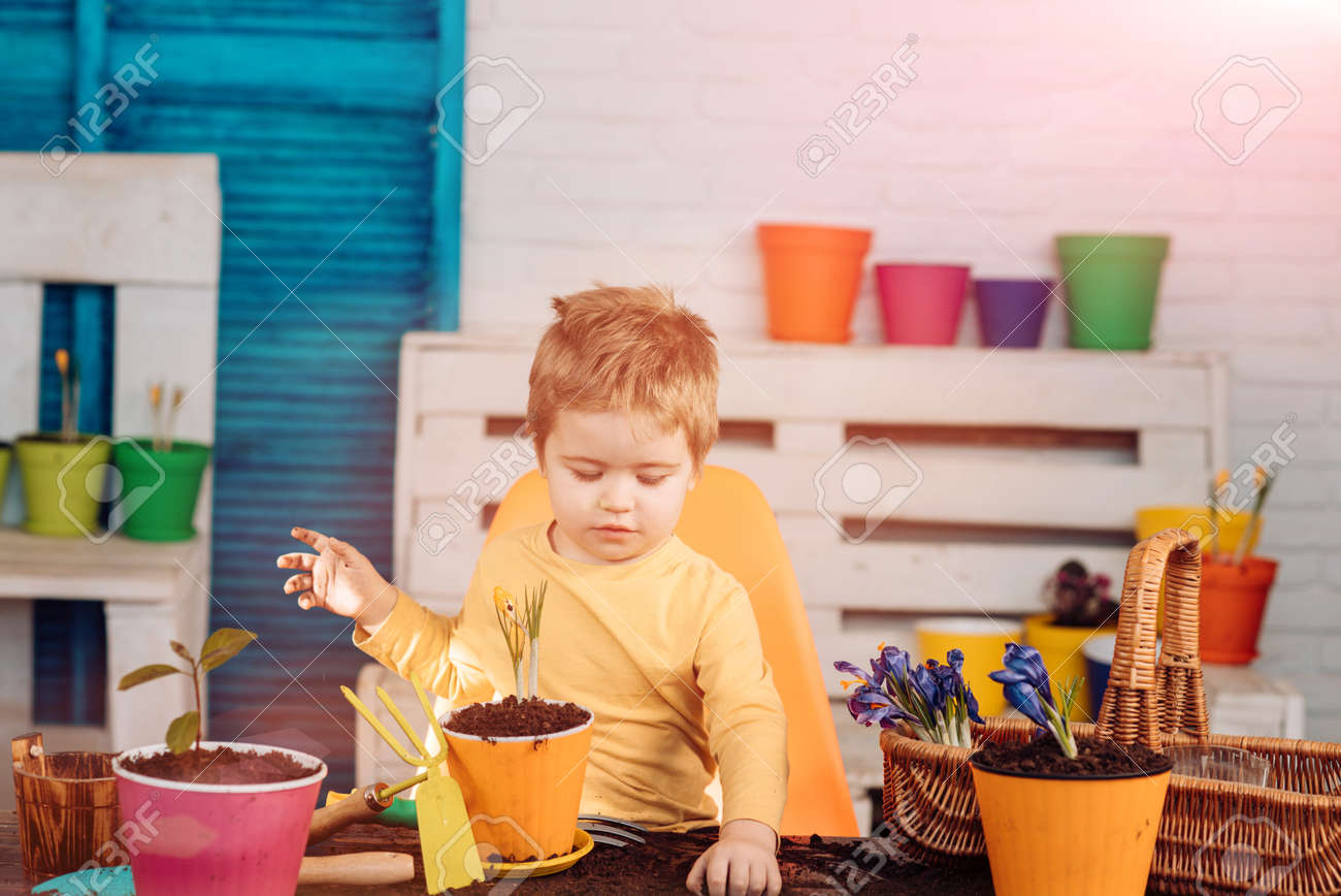 Gardening, family and people concept. Happy boy son is planting flowers at summer garden. - 163412231