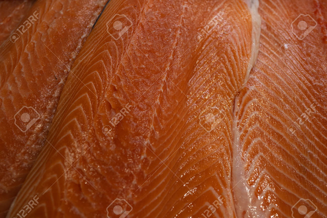 Red salmon fillet close up. Sea food. Fish. - 165065901