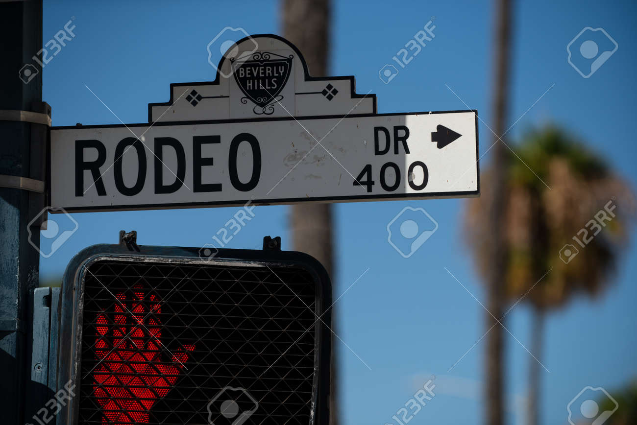 Rodeo Drive street sign in Beverly Hills, California, in the City of Los Angeles, USA. - 163345502