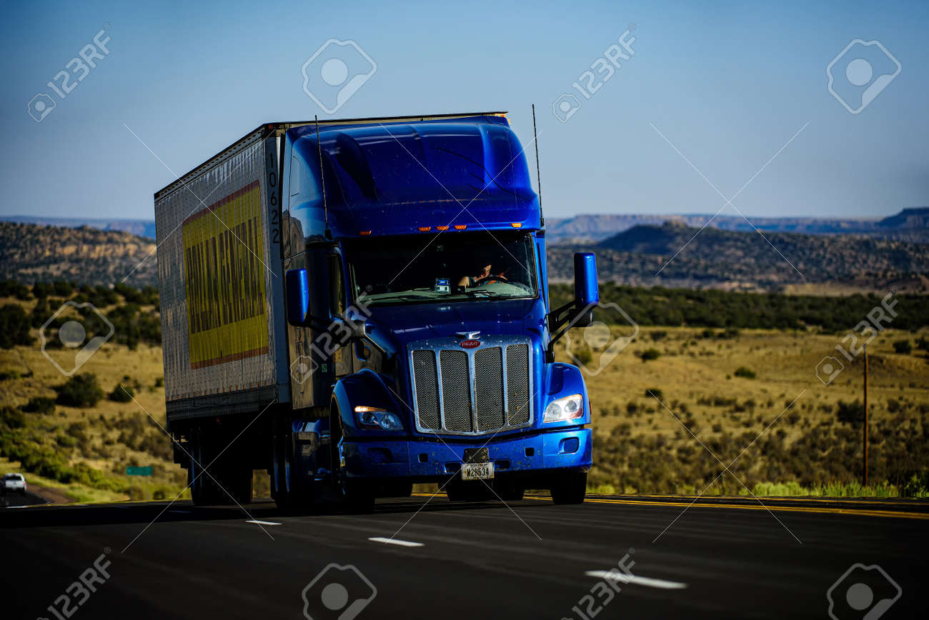 Arizona, USA - 2020: American trucks. Roads in the United States, delivery of goods. Transport business. - 170440908