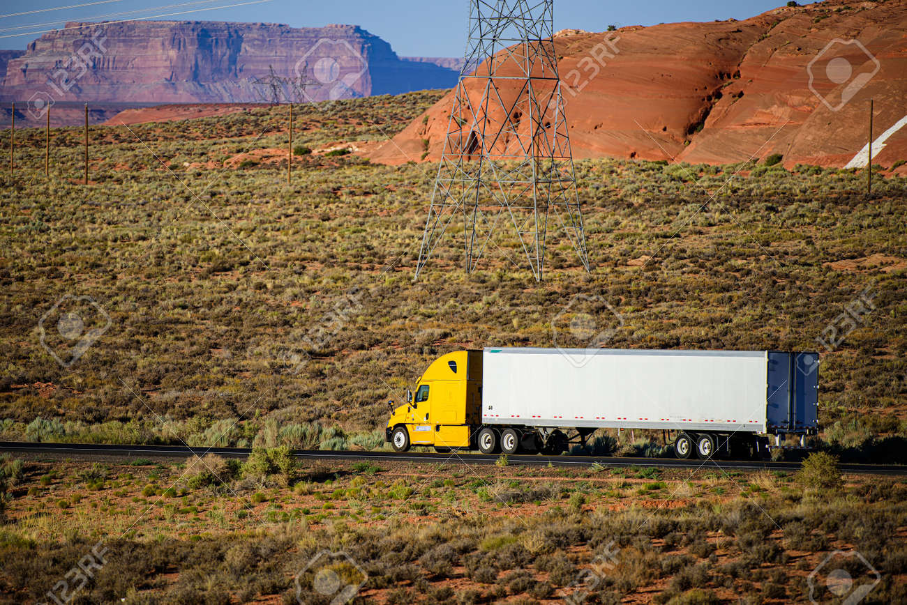 Arizona, USA - 2020: American trucks in mountains. Roads in the United States, delivery of goods. Transport business. - 170440911
