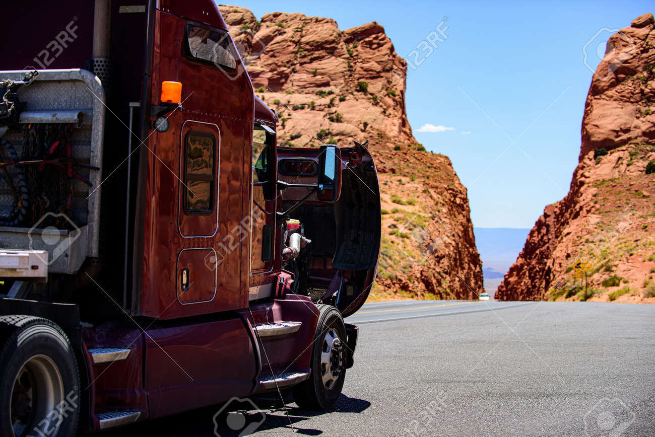 Arizona, USA - 2020: American trucks in mountains. Roads in the United States, delivery of goods. Transport business. - 170440929