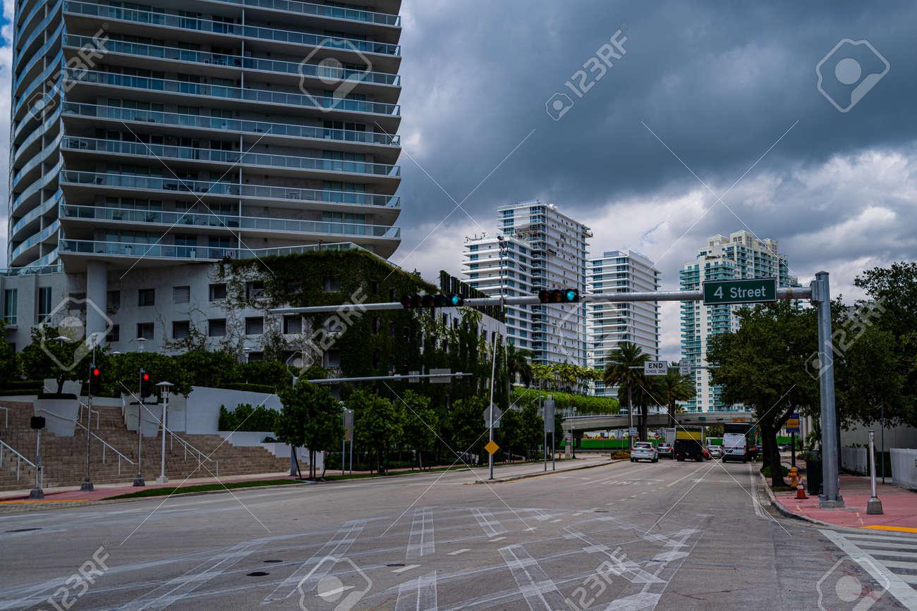 Miami Beach, Florida, USA - 2020: Miami Beach 4 street. Sunny day in Florida, US. South Beach outdoor. - 170440943