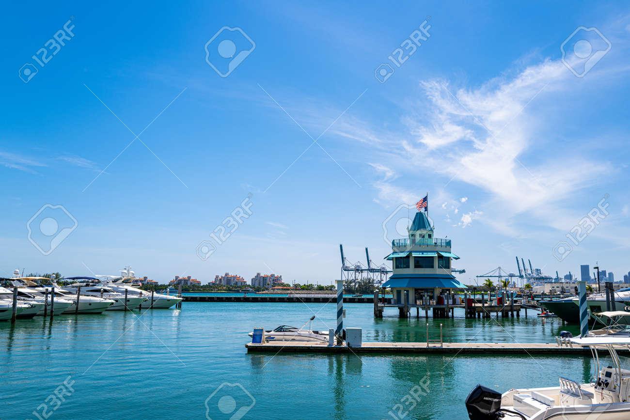 MIAMI BEACH, USA - 2020: Port for yachts in Miami. Marina concept. Ocean life style. - 170441039
