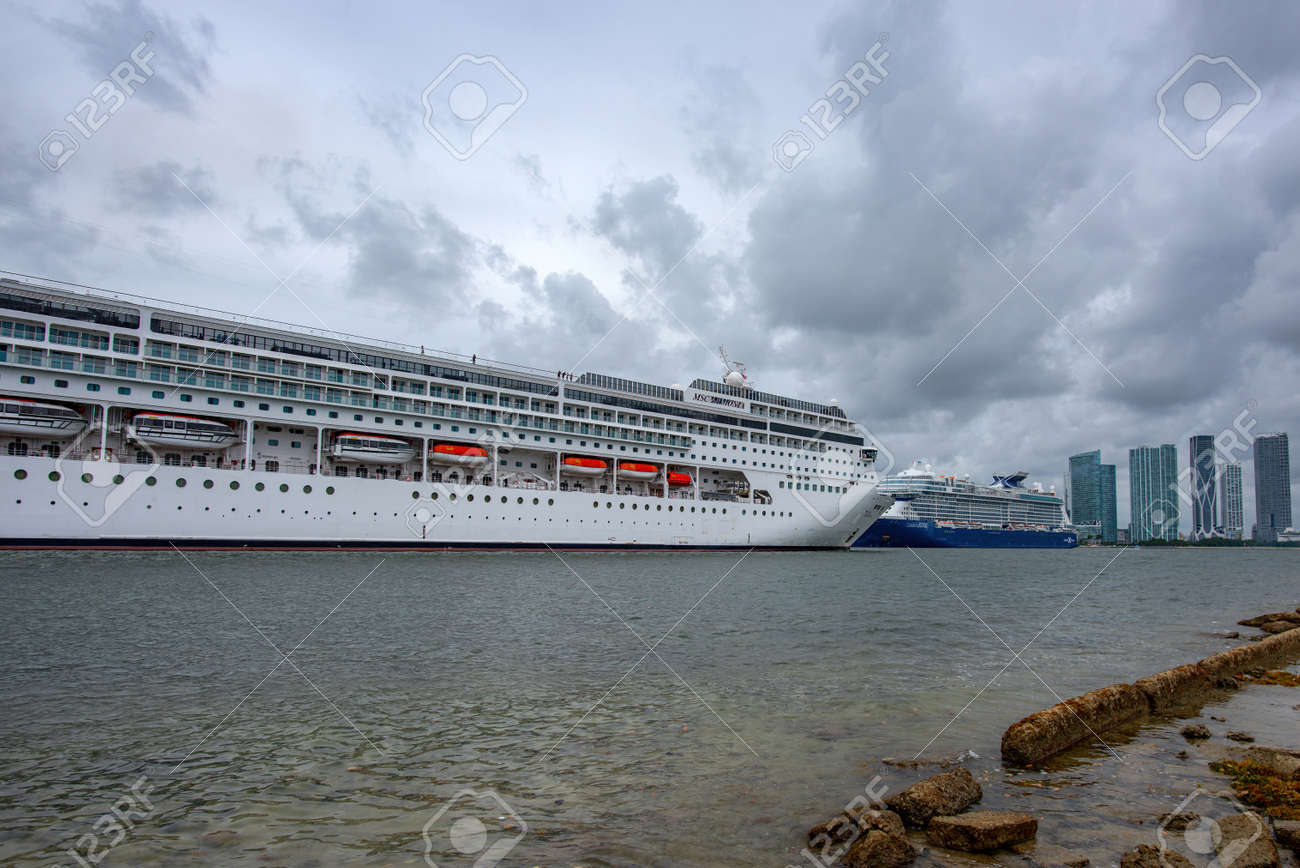 Miami, FL, USA - 2020: Cruise liners in the port of Miami. Vacation and travel, adventure. - 170926570
