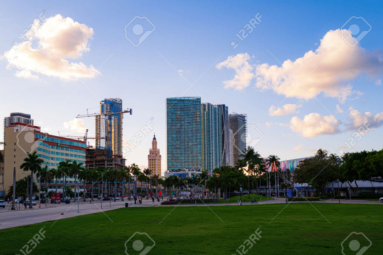 Miami, FL, USA - 2020: Cityscape. Miami Downtown, wonderful aerial view of buildings and skyscrapers. One of the most famous streets on east coast of USA. - 173380534