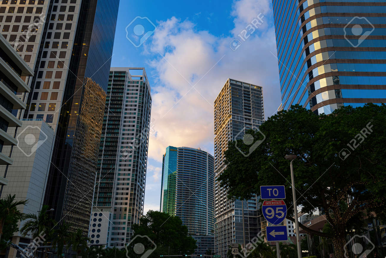Miami, FL, USA - 2020: Cityscape. Miami Downtown, wonderful aerial view of buildings and skyscrapers. One of the most famous streets on east coast of USA. - 173380601