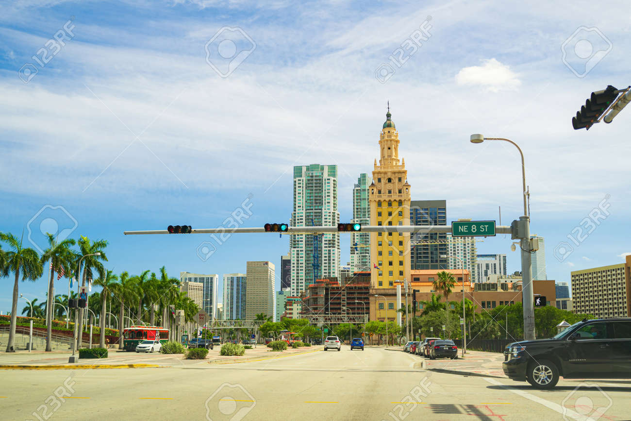 Miami, FL, USA - 2020: The Freedom Tower. American Latino Heritage. Florida old style historic skyscraper in downtown. - 173380640