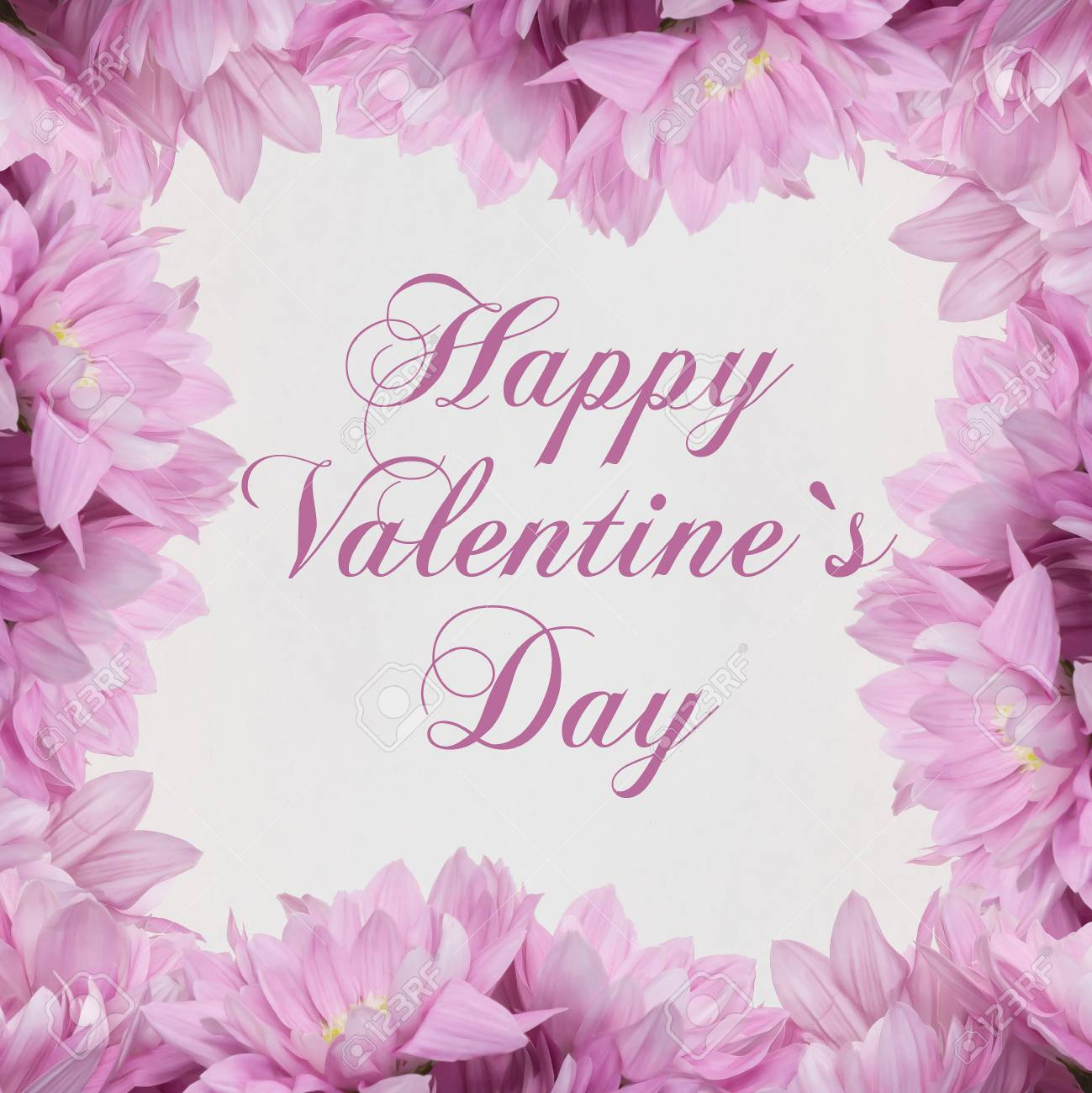 Happy Valentines Day Flower Card Stock Photo Picture And Royalty