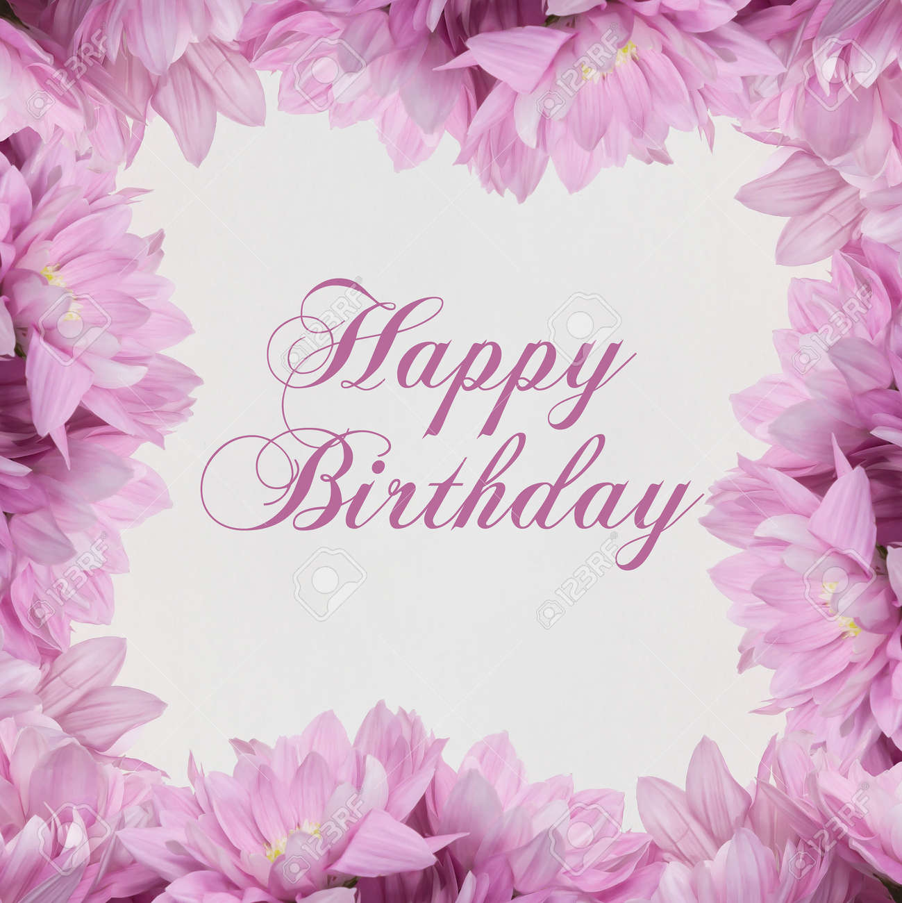 Happy Birthday Flowers On White Background Stock Photo