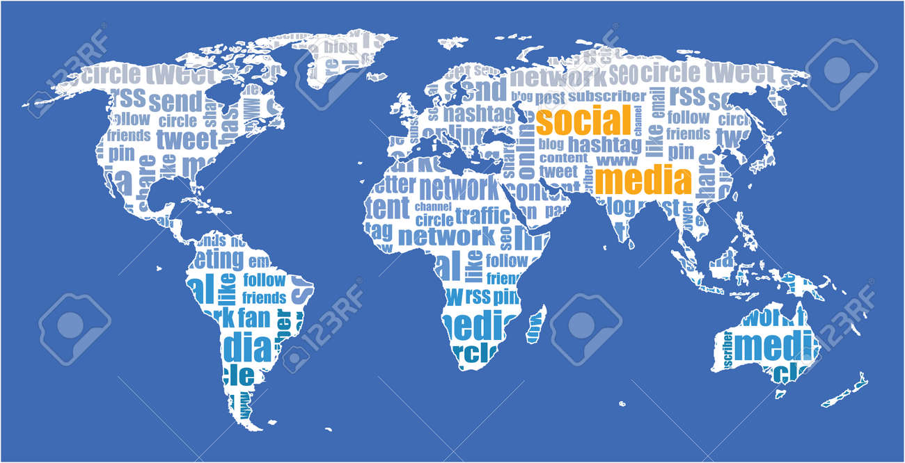 Social media world map illustration tagcloud royalty free cliparts social media world map illustration tagcloud stock vector 45968336 gumiabroncs Image collections