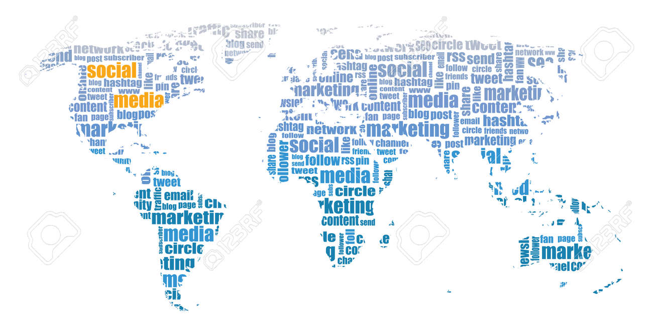 Social media tagcloud world map illustration royalty free cliparts social media tagcloud world map illustration stock vector 45968340 gumiabroncs Image collections