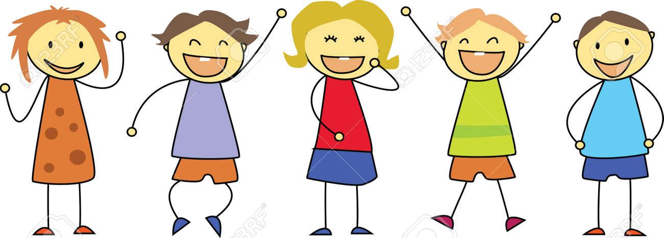 Niño Dibujando Niños De Dibujo - Grupo De Niños Sonrientes Vítores ...