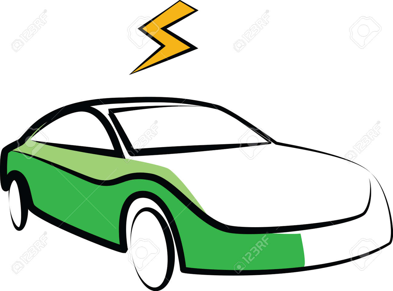 Modern Electric Car Silhouette. Electric Car Vector Illustration ...