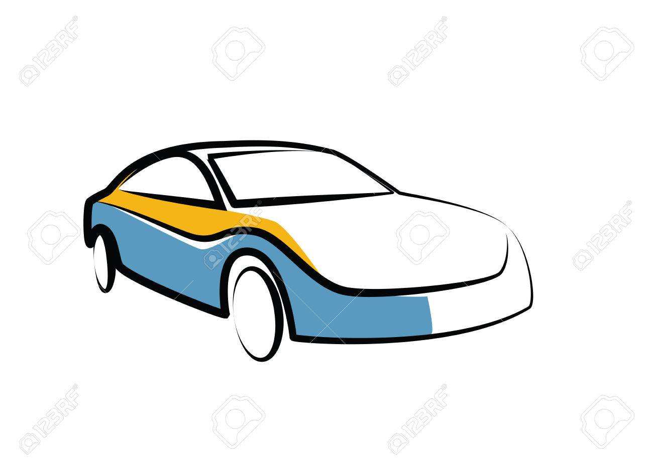 Simple Drawing Of A Modern Sports Car - Auto Sketch Royalty Free ...