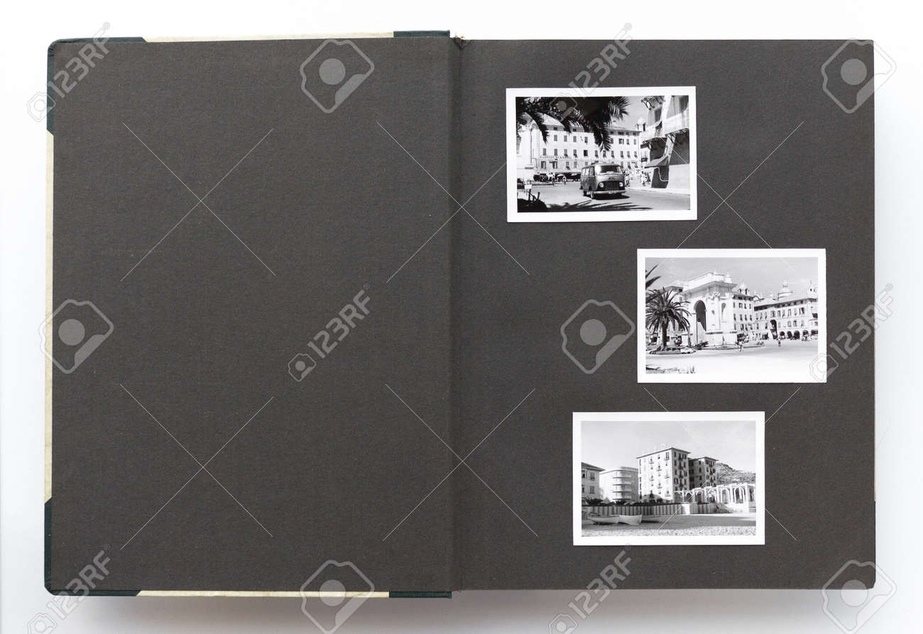 Open Vintage Photo Album With Blank Page And Old Black And White