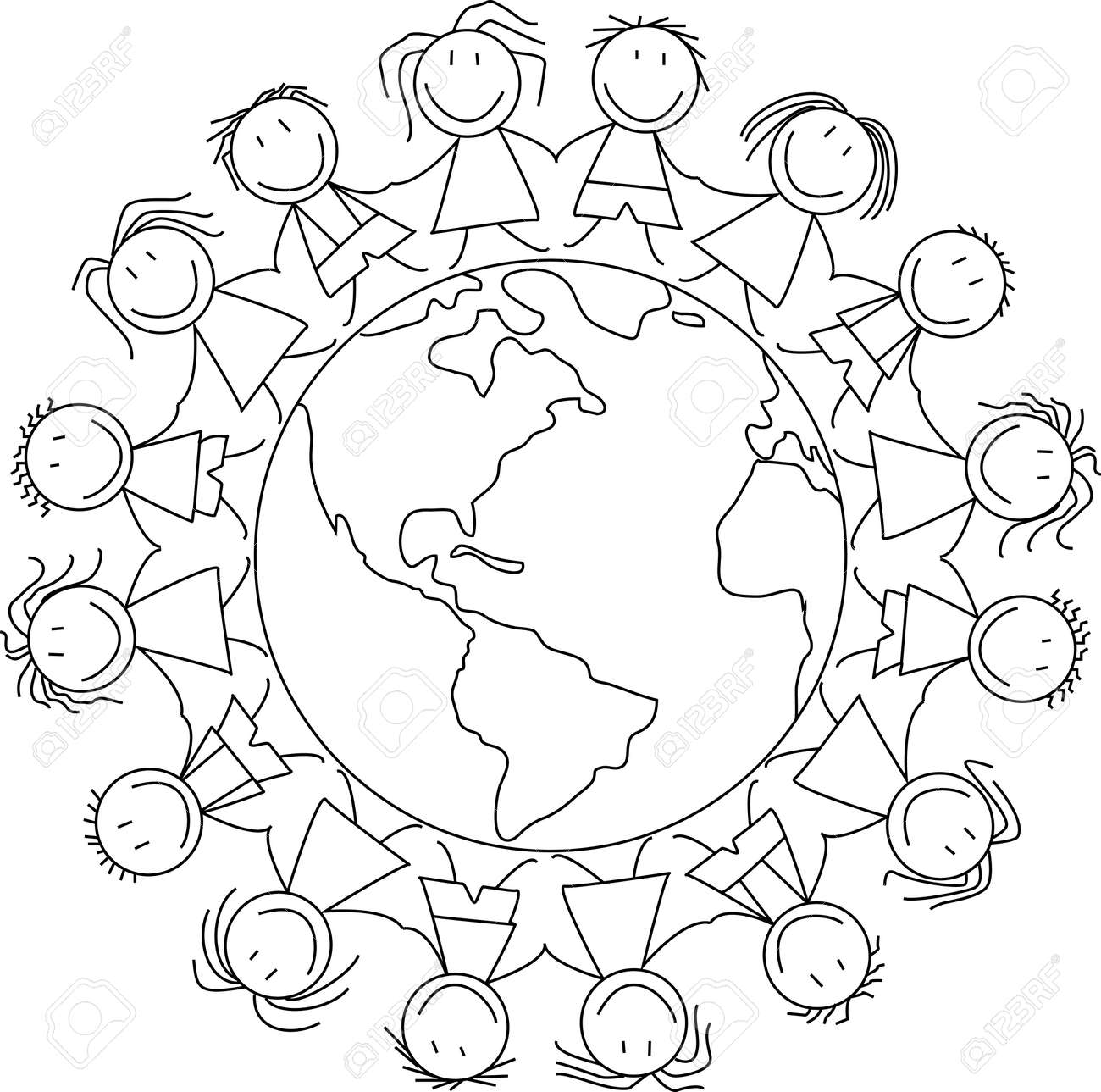 happy children holding hands on world, kids drawing royalty free