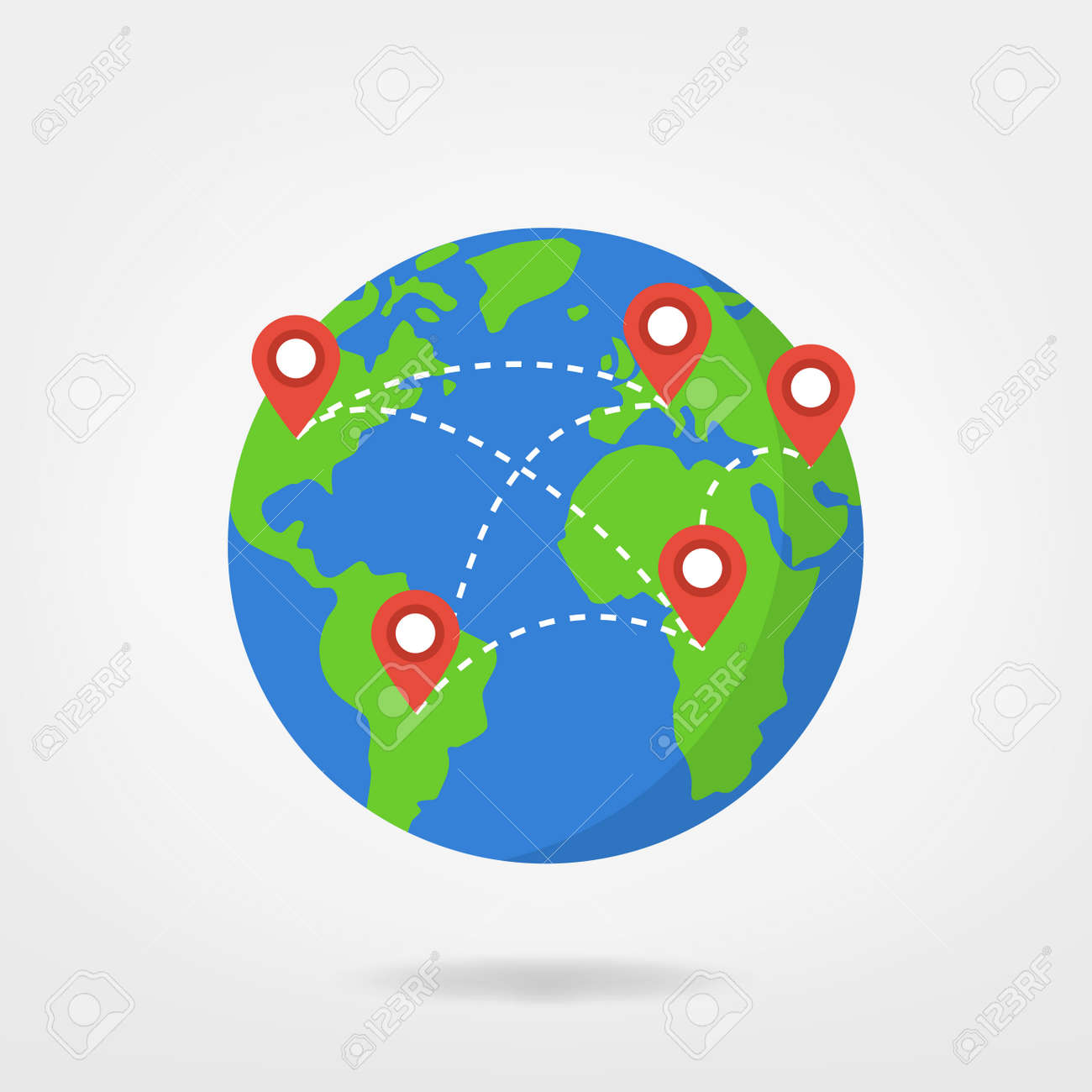 Pin Points On World Map Travel Concept Illustration Location
