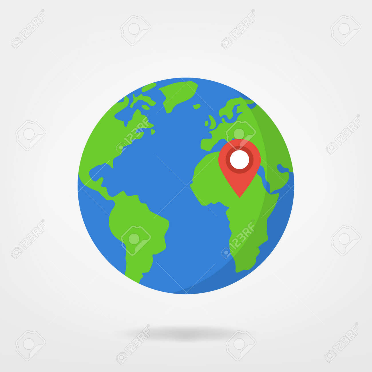 Africa location pin on world illustration world map globe africa location pin on world illustration world map globe with red marker location gumiabroncs Gallery