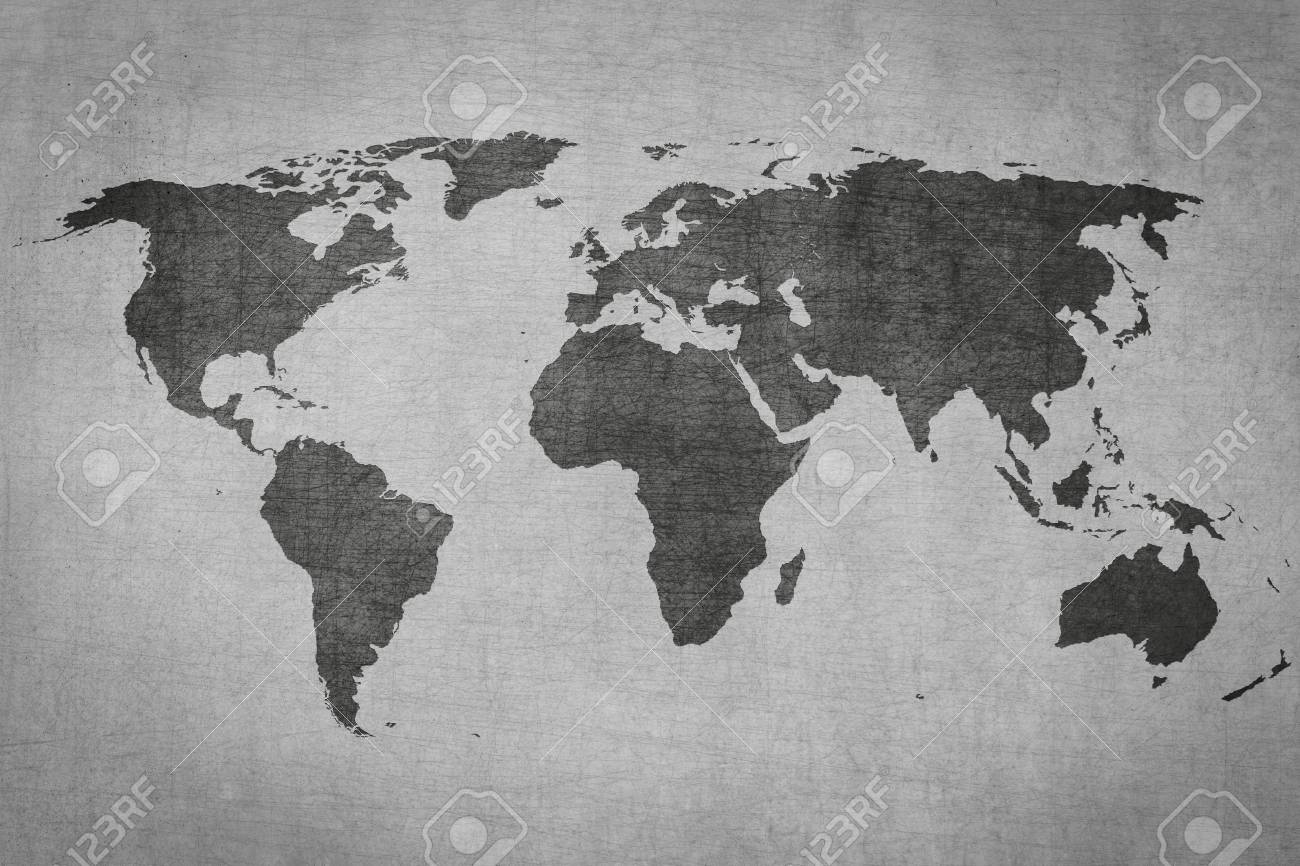 Textured Vintage World Map On Grey Grungy Background Stock Photo - Black and white vintage world map